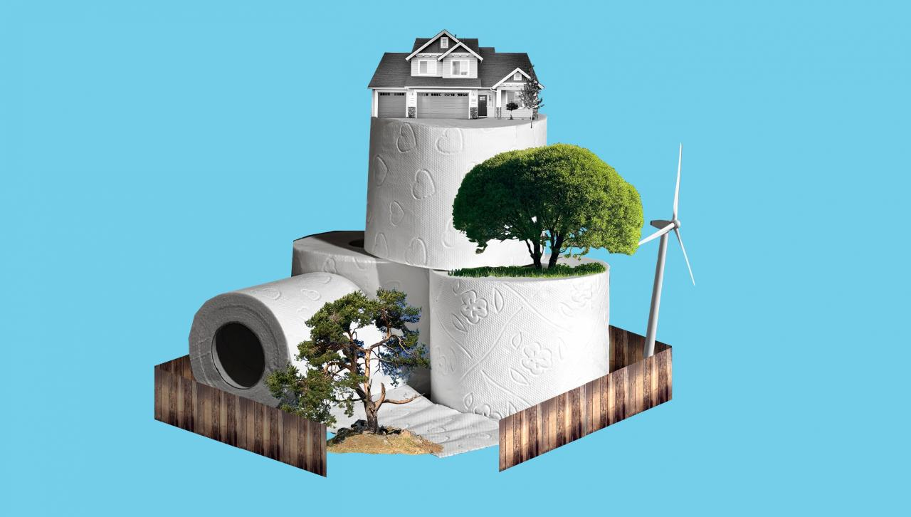 A house on a hill of toilet paper, with trees and a windmill and a wooden fence.